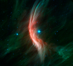 Créditos imagen: NASA/JPL-Caltech - http://www.spitzer.caltech.edu/images/5517-sig12-014-Massive-Star-Makes-Waves