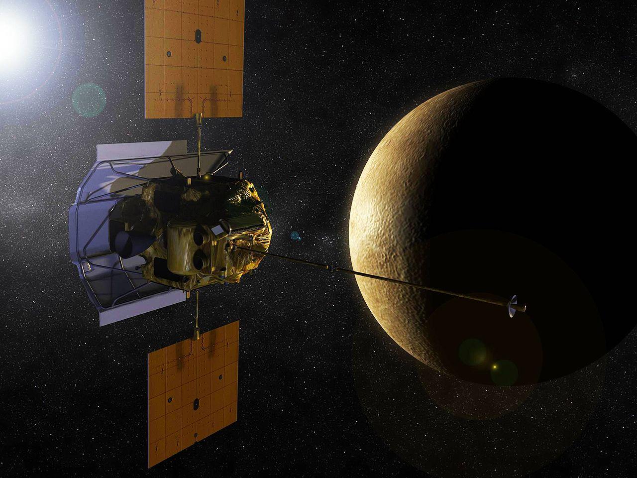 Representación artística de la sonda MESSENGER en órbita de Mercurio. Crédito: NASA